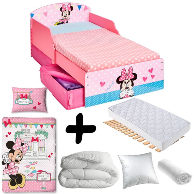 Bebe Gavroche Pack Complet Premium Lit Minnie A Pois Tiroirs Lit