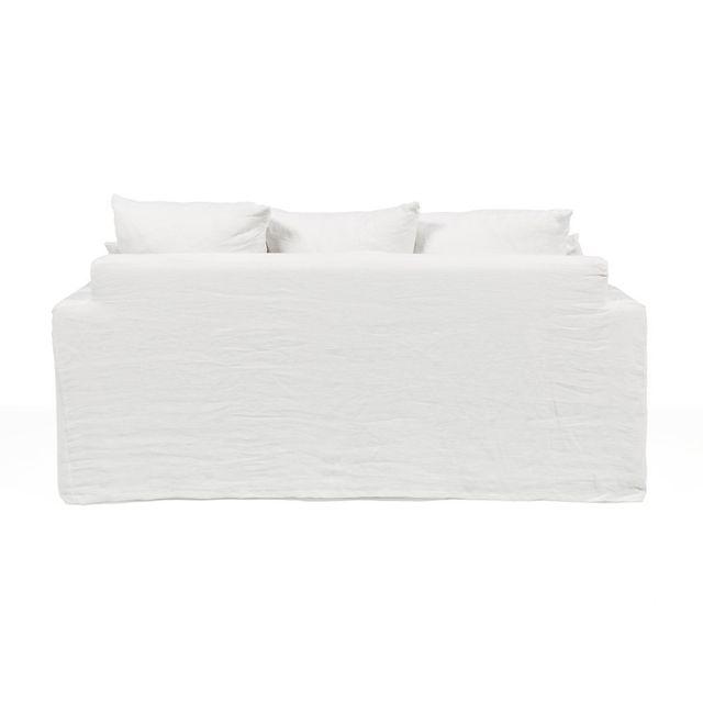 Akhal - Canapé 3 places en Lin froissé + assise Bultex et plumes Pacome - Blanc - Convertible 0cm x 0cm x 0cm