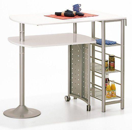 Comforium table bar cuisine en m tal coloris blanc - Table bar cuisine conforama ...