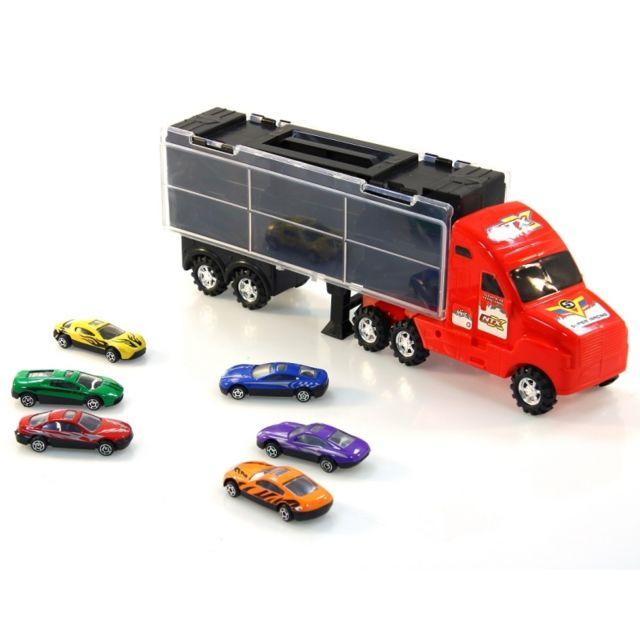 Camion Transporteur 6 Petits Voitures De Courses Jouet Pas