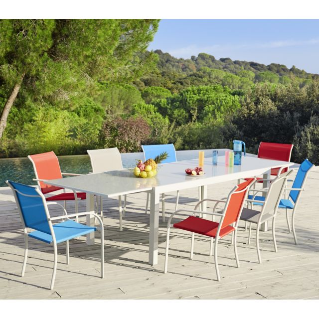 HYBA - Table Tello extensible 190/300 - Taupe Blanc écru - 190cm x ...