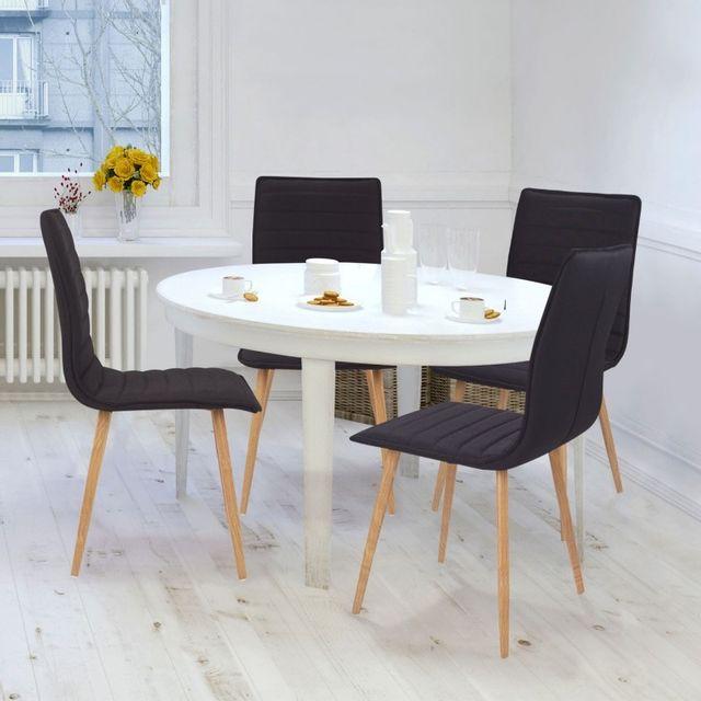 Tissus Pour Chaise Salle A Manger: Chaises X4 Polga Capitonnées Tissu Noir Pour