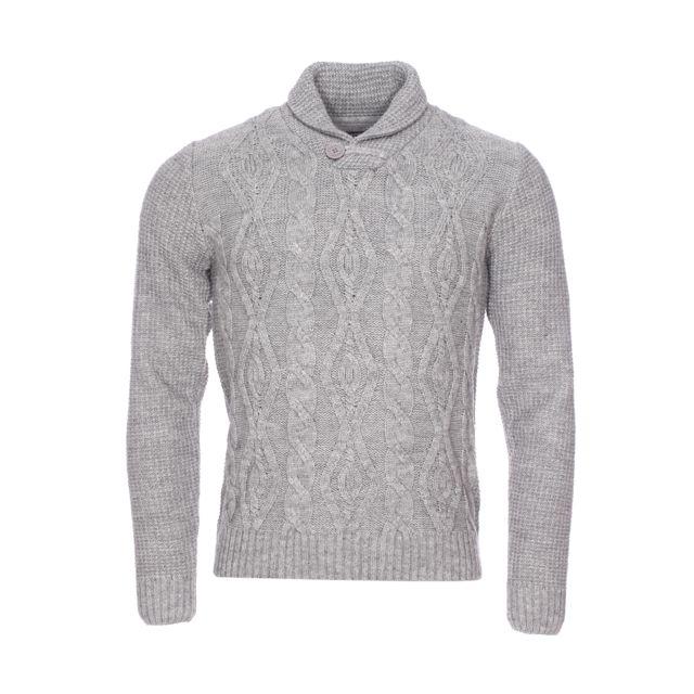 Fresh Brand Pull col châle The en laine mélangée gris chiné