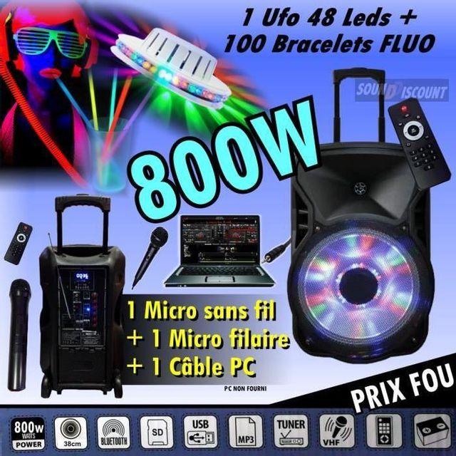 Ibiza Sound Enceinte sono 800w portable karaoké usb bluetooth tuner fm - 100 bracelets fluo - 1 ufo 48 led - pack dj sono jeux lumie