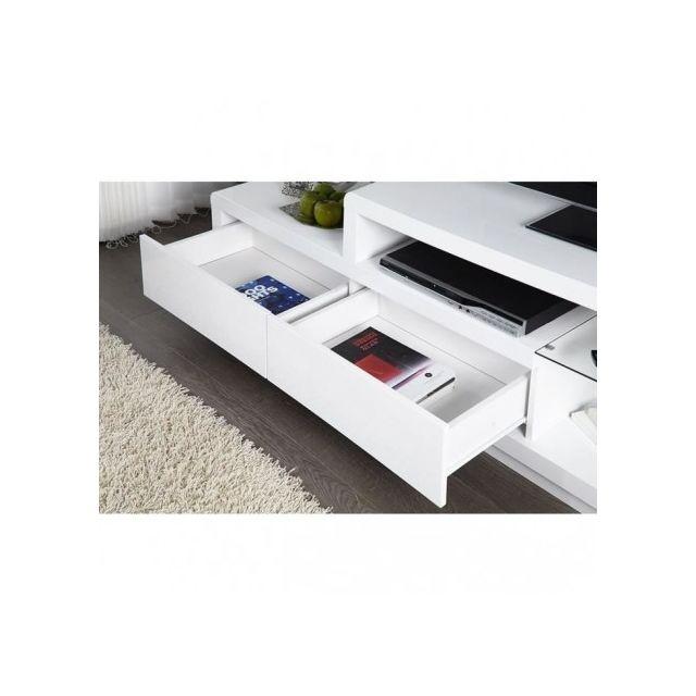 Price Factory - Meuble tv, meuble de salon Nels blanc laqué ...
