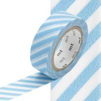 Masking Tape - Mt 15 mm Rayé bleu ciel et blanc - MT