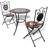Rocambolesk - Superbe Set de bistro mosaïqué table 60 cm et 2 chaises terre cuite/blanc Neuf