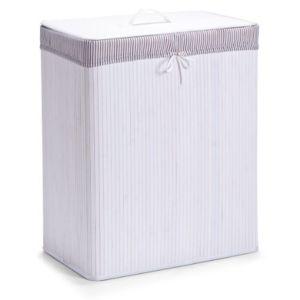 zeller present zeller panier linge 2 compartiments banbou blanc 52 x 32 x 63 cm pas. Black Bedroom Furniture Sets. Home Design Ideas