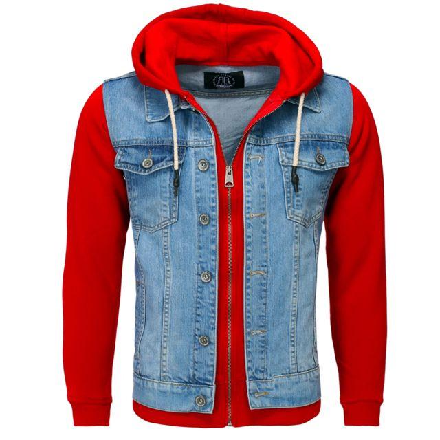 YOUNG AND RICH Veste à capuche en jeans Veste 459 rouge