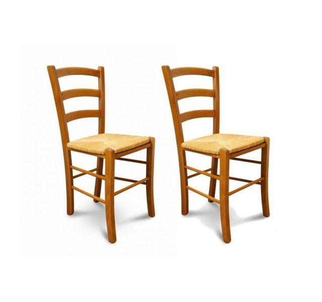 hellin lot de 2 chaises tina assise paille - Chaise Hetre Assise Paille