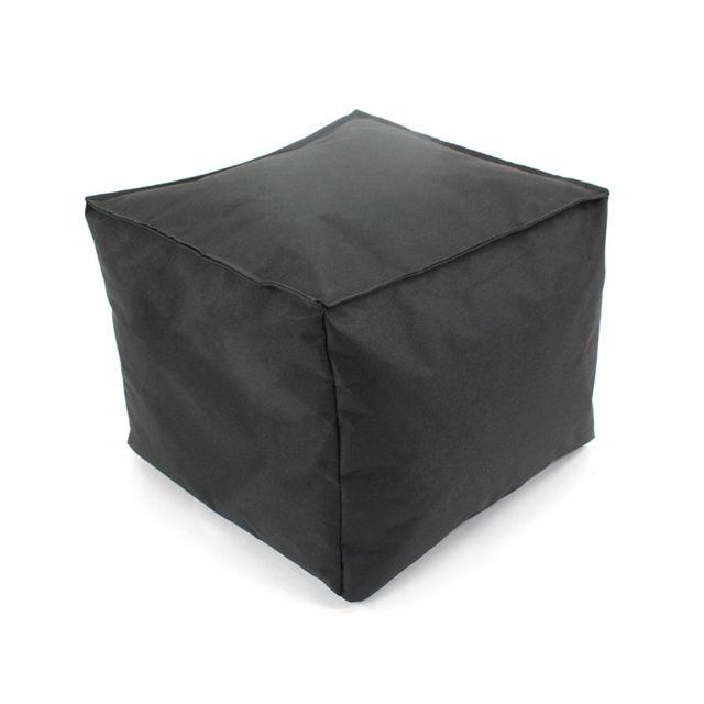 Thedecofactory Pouf à Tout carré Intérieur-Extérieur 30x30x25cm, noir