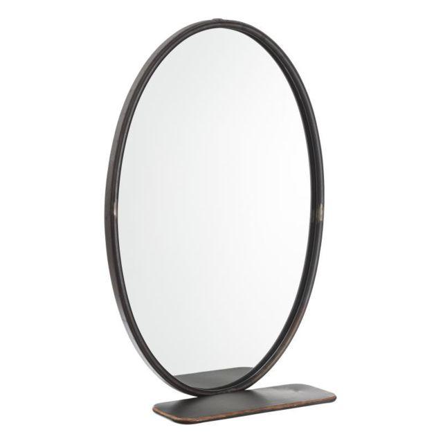 Tousmesmeubles Miroir ovale Métal gris taille M - Grondin