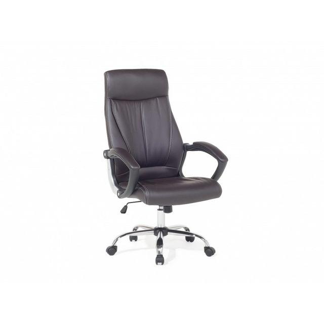 Beliani Chaise de bureau - Bureau - Cuir - Marron - Champion