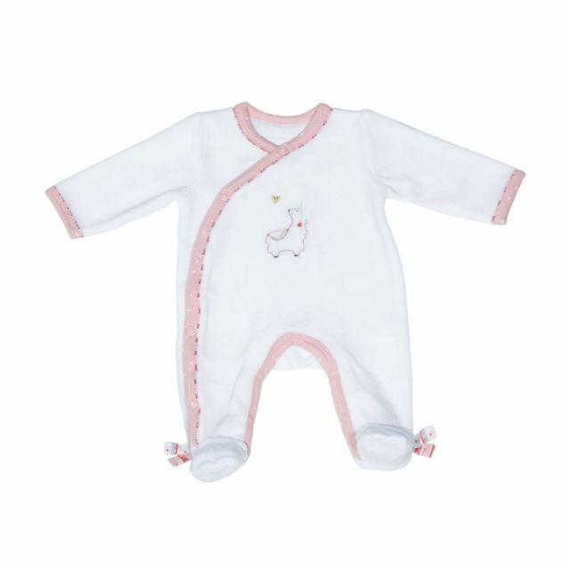 df68d2391130c Sauthon - Pyjama velours blanc 1 mois Mila - pas cher Achat   Vente Pyjamas