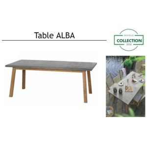 outillage online m mhomeware table de jardin alba en teck et b ton pour 4 6 personnes. Black Bedroom Furniture Sets. Home Design Ideas