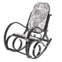 Mendler - Rocking-chair M41, fauteuil à bascule en bois, fauteuil de relaxation ~ jaquard, noir