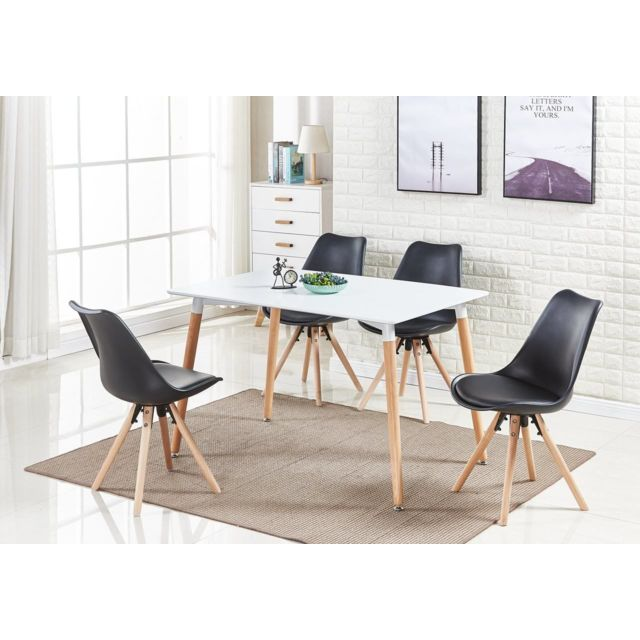 Home Design International - Table Blanche + 4 Chaises Scandinaves ...