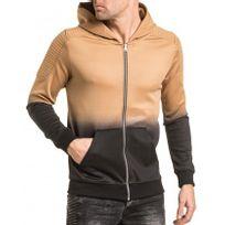 Gov Denim - Veste homme zippée à capuche beige et noir tendance effet dégradé
