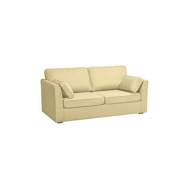 Canapé 3 places fixes en polyester beige - Charles