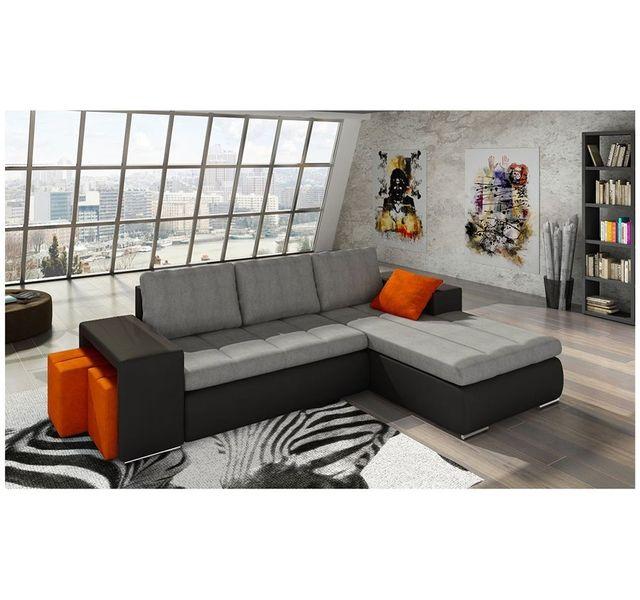 CHLOE DESIGN Canapé d'angle convertible Kawa - Angle droit - gris et noir