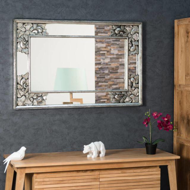 Wanda Collection Miroir déco en bois patiné Mathilde argent 1m10 x 70cm