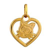 1001BIJOUX - Pendentif Coeur découpé chat plaqué or
