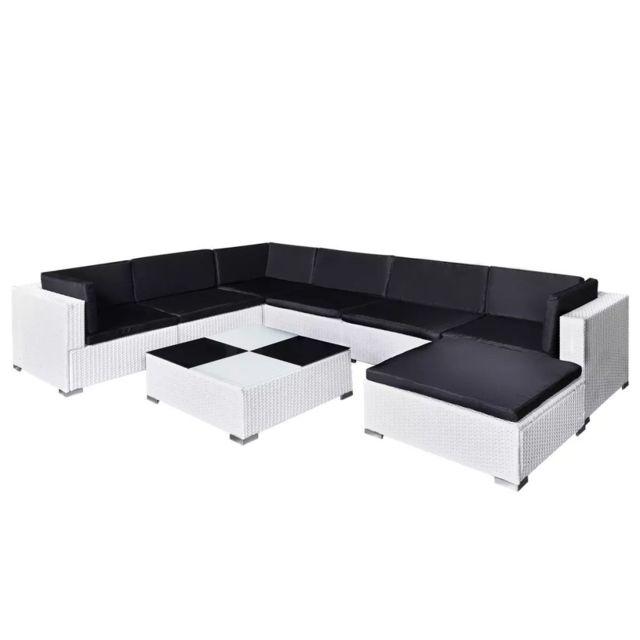 Icaverne - Ensembles de meubles d'extérieur collection Jeu de mobilier de jardin 24 pcs Blanc Résine tressée