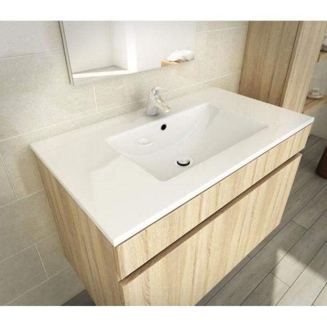 LUNA Salle de bain complete simple vasque 80 cm D/écor oak sonoma
