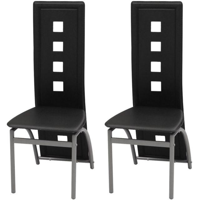 Sans Marque Chaises de salle à manger 2 pcs Cuir artificiel Noir