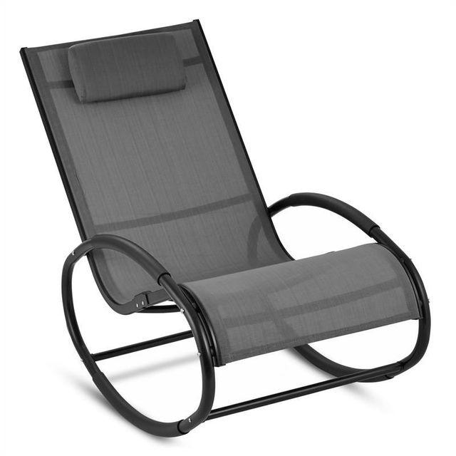 BLUMFELDT Retiro Fauteuil à bascule Rocking chair aluminium & polyester - gris