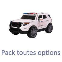 Voiture Electrique - Voiture véhicule électronique électrique enfant 12 volts police blanc pack luxe
