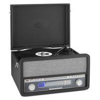 AUNA - Belle Epoque 1907 Tourne-disque rétro & lecteur de cassette BT MC USB CD AU