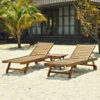 Bois Dessus Bois Dessous - Lot de 2 bains de soleil - Table basse en teck huilé