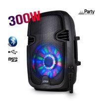 """Party Sound - Enceinte mobile amplifiée 8"""" 300W à Leds Rvb Usb/BLUETOOTH/FM/SD/MICRO"""