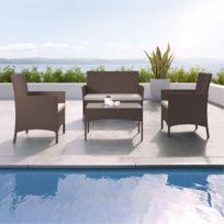 Ims Garden - Imora - Salon de jardin résine tressée - ensemble 4 places - Canapé + Fauteuil + Table - Marron