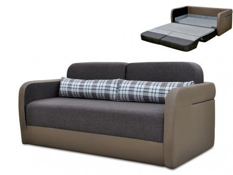 Canapé 2 places convertible déplimousse en tissu et simili Vilo - Taupe et chocolat