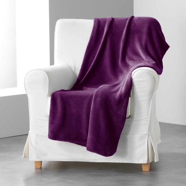 douceur d 39 interieur cdaffaires jete de canape 180 x 220 cm coral uni louna prune violet nc. Black Bedroom Furniture Sets. Home Design Ideas