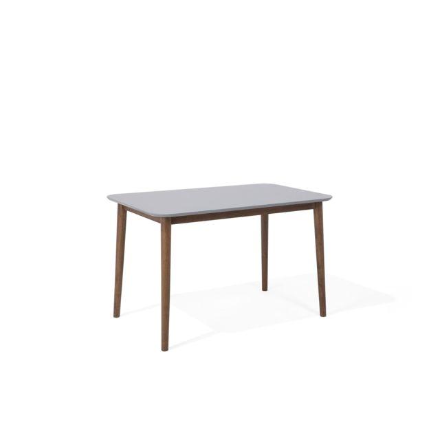 BELIANI Table de salle à manger en bois d hévéa et gris 118 x 77 cm MODESTO - gris et marron