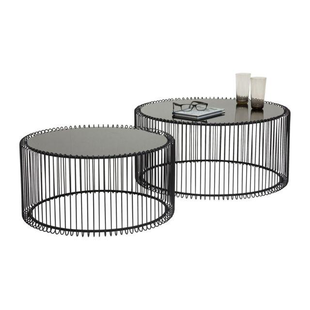 Karedesign Tables basses rondes Wire noir set de 2 Kare Design