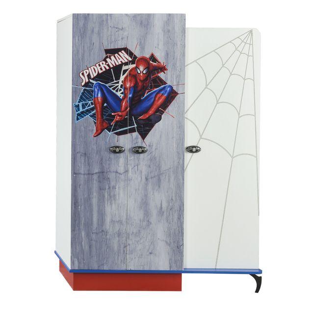 Comforium Armoire enfant à 3 portes design spiderman marvel coloris blanc, bleu et rouge