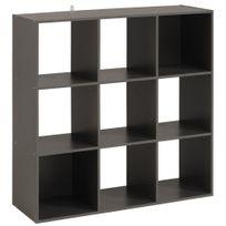 Comforium - 9 cases étagères moderne en cube coloris gris foncé