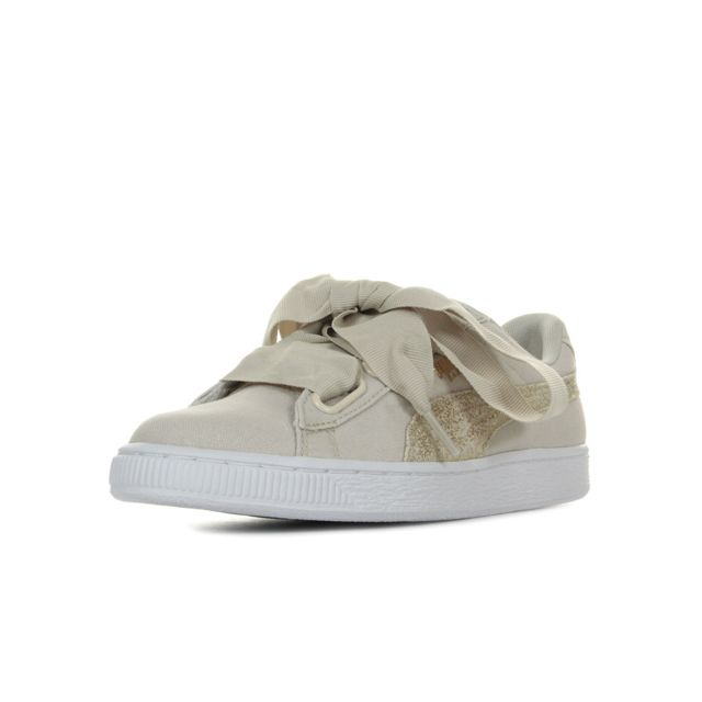Puma BASKET HEART CANVAS W'S Beige Chaussures Baskets