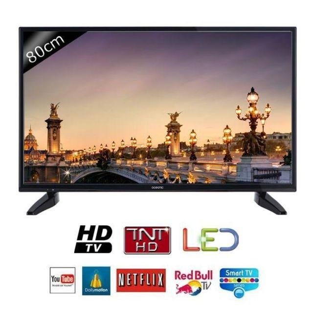 oceanic tv 32s0316b3 hd 80cm 31 5 pouces led smart tv 2 hdmi classe a pas cher achat. Black Bedroom Furniture Sets. Home Design Ideas