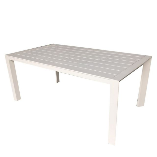 Table de jardin en aluminium blanc Porto - L 180 x l 100 x H 75