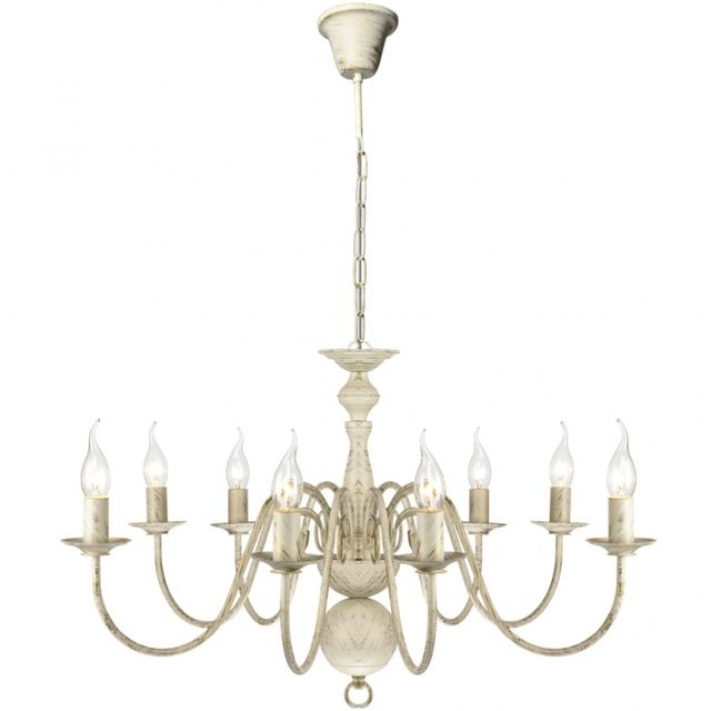 CASASMART Lustre en métal blanc antique 8 x E14 ampoules