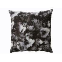 Pomax - Coussin carré 100% polyester imprimé fausse fourrure 45x45cm gris et blanc Boreal
