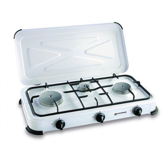 Kemper Plaque de cuisson gaz portable 3 feux - 3450 w - blanc laqué