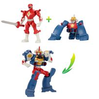 POWER RANGERS DINO SUPER CHARGE - Duo pack Mixx N'Morph 16 cm - Ranger Mighty Morphin Rouge + Zord Singe - 43026