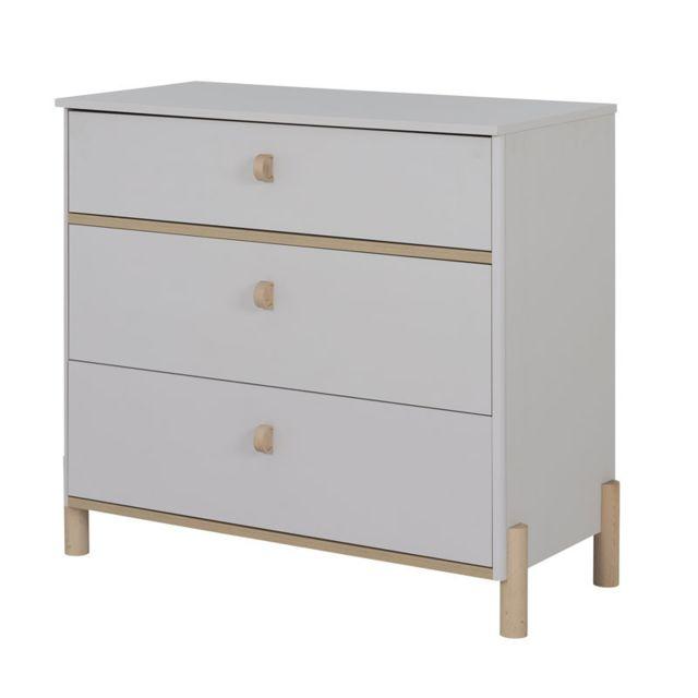 Tousmesmeubles Commode 3 tiroirs Bois/Gris clair - Tresor