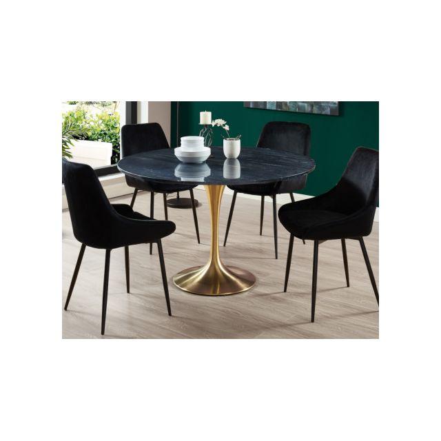 Table à manger ronde design Marbre Noir Métal Doré NORAH